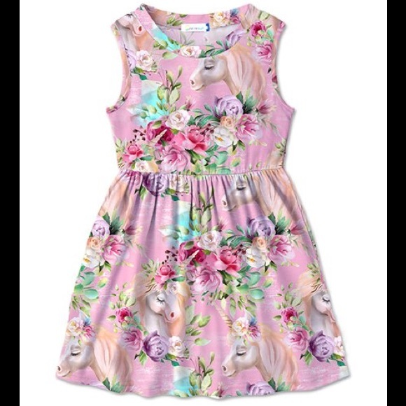 🦄 Pink Multi Color Floral & Unicorn Betsy Dress🦄
